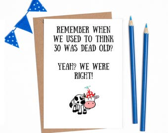 30th birthday card for her, 30th birthday card for him, funny 30th birthday, 30 birthday card, banter cards, joke cad, funny friend card