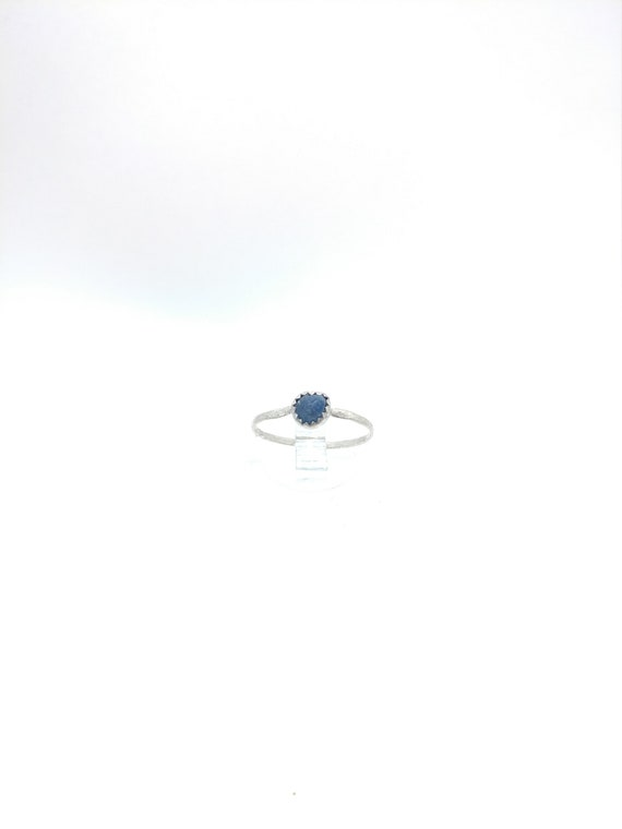 Blue Sapphire Stacking Ring   Sterling Silver Ring Sz 6.5   Raw Sapphire Ring   September Birthstone Ring   Raw Blue Sapphire Stacker Ring