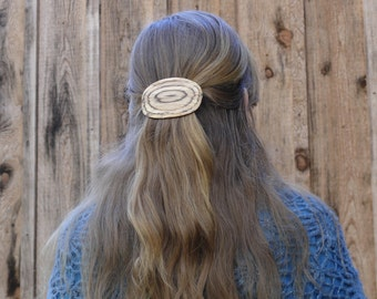 Natural Wood Hair Clip, Natural edged wood, Organic hair accessory, Hair slider, Hair pin, Nature Lover Gift, 80mm French barrette clasp