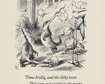 The Borogoves, Toves and the Raths - quote Alice in Wonderland / Through the Looking-Glass based on book illustration by J. Tenniel