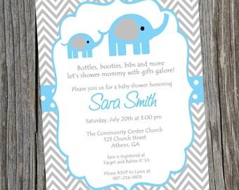 Elephant Invitation.  Baby Shower Invite.  Blue Elephant Shower Invite.  Baby Boy Invite.  Elephant Invite. Baby Shower.  Invitation. Invite