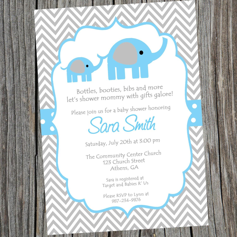 Elephant Invitation Baby Shower Invite Blue Elephant