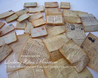 17th & 18th Century Folded Letter Collection for Dollhouse 1/12 Scale