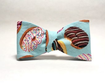 Light Blue Donuts Freestyle Bow Tie