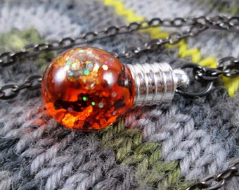 Glitter Liquid Necklace - Halloween Spooky Orange Bats - Small Globe with Gunmetal Chain