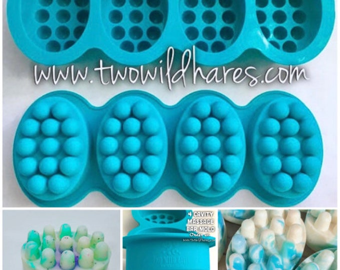 10 BULK MASSAGE BAR Silicone Soap Mold Set, 4.5 oz Cavities (40 Cavities Total) Professional Grade Molds, Two Wild Hares