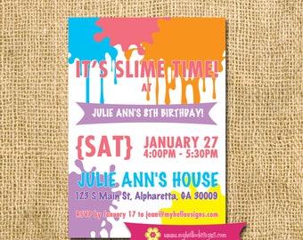 Printable Slime Invitation - science sticky slimy gooey party paper goods Invite DIY boy girl card printable birthday JPG PDF digital