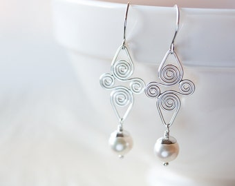 White Pearl Earrings, sterling silver dangle earrings, 925 sterling silver, Artisan handcrafted Celtic spiral earrings