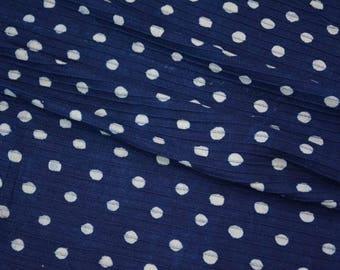 Indigo And White Polka Dot Pintuck Fabric