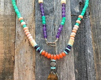 Tigers Eye Necklace | Pave Diamond | Peruvian Pink Opal | Chrysoprase | Amethyst | Carnelian | Turquoise | Bohemian