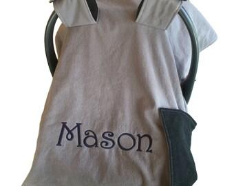 Baby Boy Car Seat Canopy Newborn Baby Shower Gift New Baby Boy Gift Baby Boy Car Seat Cover Carseat Canopy Gray Car Seat Canopy