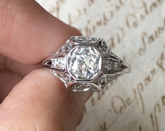 25% SALE! Art Deco 1920's / 0.65 carat PLATINUM filigree Old European cut Diamond ring / Engagement ring Wedding ring