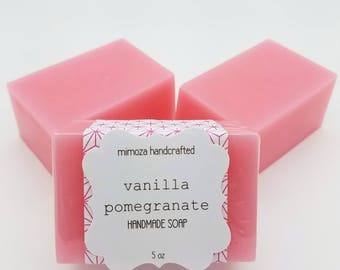 Pomegranate Vanilla Shea Butter Soap, Handmade Soap, Vegan Soap, 5oz Bar