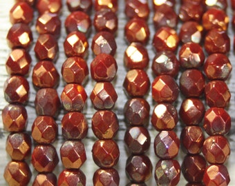 Firepolished Czech Crystal, 4mm Faceted Round, 50 Bead Strand