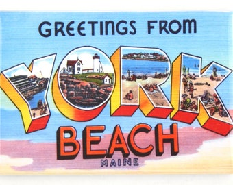 Greetings from York Beach Maine Fridge Magnet