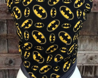 ORGANIC COTTON Baby Wrap Sling Carrier-Batman on Gray-Newborn through Toddler- DvD Included