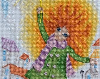 Cross stitch pattern PDF girl, Cross stitch pattern PDF positive, Cross stitch pattern PDF red-haired girl, Cross stitch pattern sun