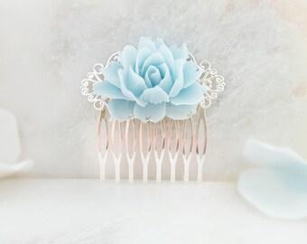 Blue Flower Hair Piece - Blue Rose Hair Comb - Light Blue Hair Accessory - Decorative Hair Comb - Blue Hair Comb - Something Blue Gift H2011