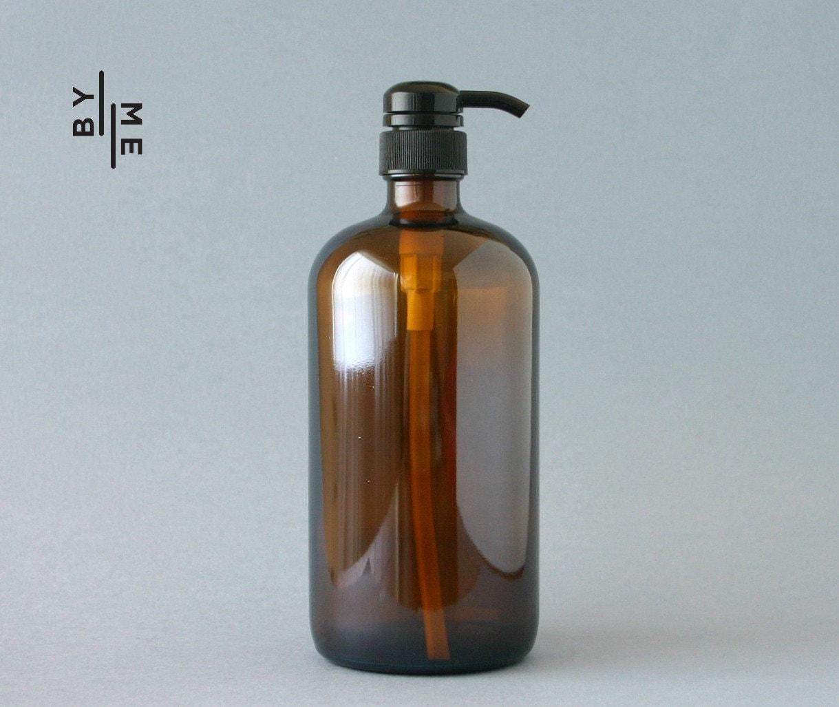 1 litre Amber Glass Bottle Soap Dispenser Pump with chalkboard