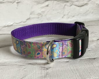 Dog Collar - Multi coloured Paisley Pattern - Handmade Pet Gift