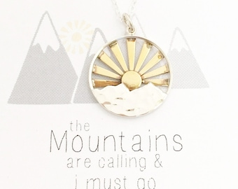 Mountain necklace, The Mountains are Calling and I Must Go, nature jewelry, mountain range, gift for her, hiking, outdoor wedding, silver