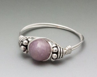 Light Lepidolite Bali Gemstone Sterling Silver Wire Wrapped Bead Ring - Made to Order, Ships Fast!