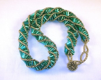 Teal and silver spiral bugle necklace