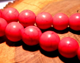 10 pearls way-howlite 10 mm - turquoise synthetic red PG125