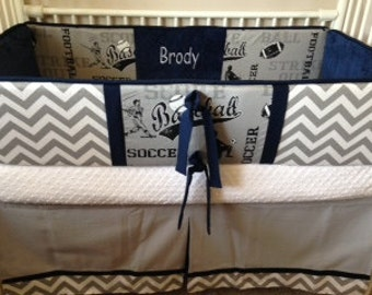 Navy gray sports Baby boy bedding Crib sets DEPOSIT Down payment ONLY read details