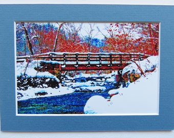 Matted 4x6 Hemlock Creek Bridge Winter Snow Scene with River and Trees Photograph Signed Artwork Print Home Decor Small Wall Art