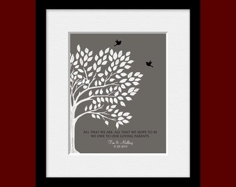 Thank You Mom and Dad, Parents Thank You Gift, Parent's Wedding Day Gift, Bride's Parent Gift, Groom's Parent Gift, Wedding Tree Print