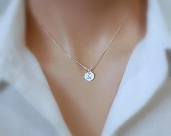 Initial Necklace, Hand Stamped Initial Charm on Sterling Silver Necklace Chain, Bridesmaids Necklace, Bridesmaids Gift, Gift for Her