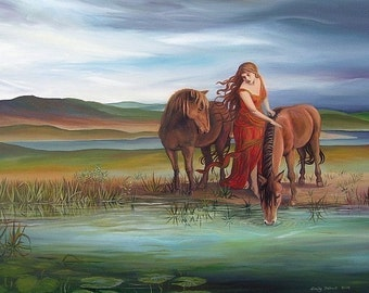 Epona ACEO ATC Mini Fine Art Print Pagan Mythology Celtic Horse Goddess Art