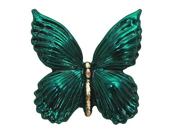 Butterfly (Wings Down) 7/8  inch ( 23 mm ) Susan Clarke Metal Button Teal Color