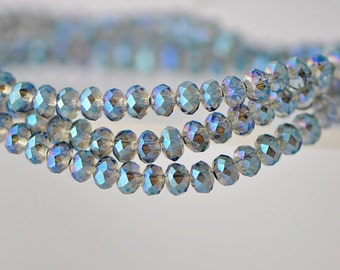 Faceted Rondelle Glass Crystal Beads Green 3x4mm-BZ0482 / 140Pcs