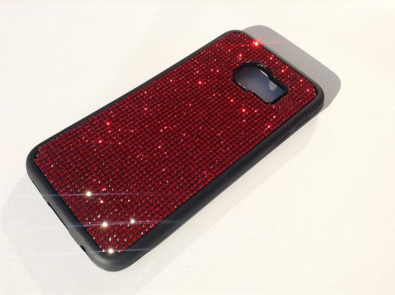 Galaxy S6 Edge Red Siam Diamond Crystals on Black Rubber Case. Velvet/Silk Pouch Bag Included, Genuine Rangsee Crystal Cases.