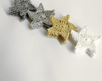 Crocheted stars, 3.5 cm appliques, neutral mix, 12 pc.