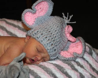 Crochet Elephant Hat/baby hat/crochet baby hat/baby girl hat/baby shower gift/photo prop/animal baby hat/baby elephant hat/Ready to ship