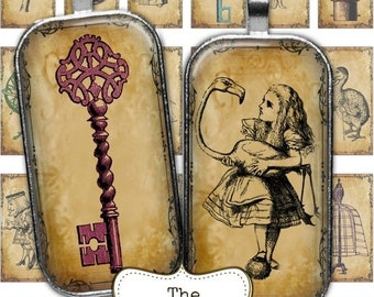 80% off Mothers Day Sale Steampunk Alice in Wonderland 1 x 2 Digital Collage Sheets Rectangle Dominoes Digital Images for Pendants Necklace