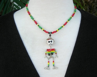 Fun Little Skeleton Doll, Made in Peru, Day of the Dead, Small Glass Seed Beads, Cool Matching Skull Earrings, Necklace Set by SandraDesigns