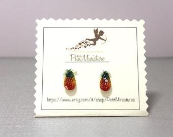 Earrings Pineapple Earrings summer Earrings fruit Earrings handmade jewelry summer steel surgical made in italy jewelry fruit stud earrings