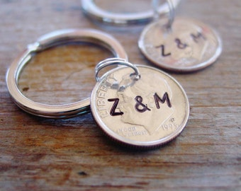 Set of 2, Dime Keychain, Hand Stamped, Couples Initials, Coin Key Ring, Silver Gift, 10 Year Anniversary Gift, 10th Anniversary,Couples Gift