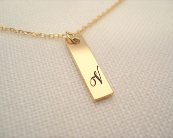 Gold over Stainless Steel Personalized nameplate Bar Necklace...Engraved vertical initial necklace, Sorority gift, monogram, bridesmaid gift
