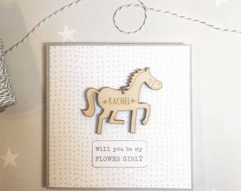 Bridesmaid thank you, flower girl, bridesmaid card, pony card, thank you for being my bridesmaid, will you be my bridesmaid, unicorn