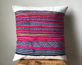 Mudcloth & Hamong Embroidered Pink and Metallic Gold Tribal Pillow Cover - Hand made in the hills of the Hmong Tribe