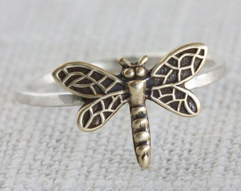 Mixed Metal (Sterling Silver and Oxidized Brass) Dragonfly Ring