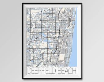 DEERFIELD BEACH Florida Map, Deerfield Beach City Map Print, Deerfield Beach Poster, Deerfield gift, Custom city, Personalized Florida map