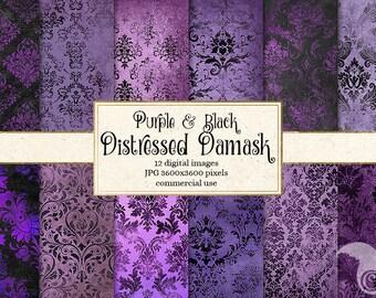 Purple and Black Distressed Damask Digital Paper, rustic vintage textured scrapbook paper, grunge textures, gothic paper instant download