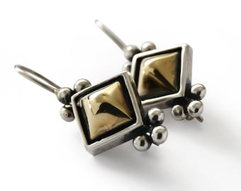 silver and gold small earrings,Vintage style Handmade Earrings, rhombus Bridal Jewelry, Everyday gold Earrings, Mixed metals earrings, Sale