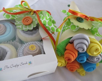 14 Piece Baby Shower Gift, Onesie Cupcakes, Washcloth Bouquet Gender Neutral